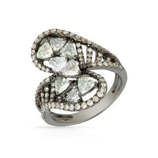 Ring with 2.16ct TW Genuine Fancy Green enhanced Diamonds 14K Black Gold