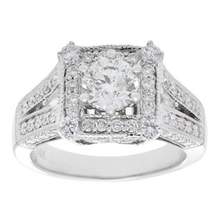 Solitaire Plus Ring with 2.33ct TW Genuine Diamonds in 14K White Gold