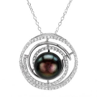 Circle Necklace with 2.80ct TW Cubic Zirconia and 12.0mm Freshwater Pearl of 925 Sterling Silver