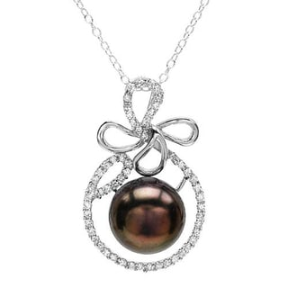 Sterling Silver 1.4ct TGW CZ/ Pearl Necklace