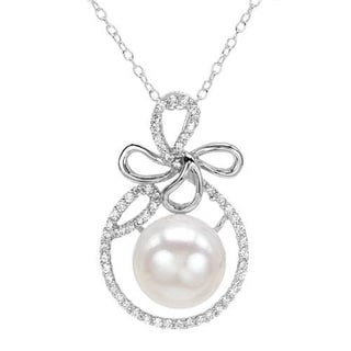 Necklace with 1.4ct TW Cubic Zirconia and 12mm Freshwater Pearl in .925 Sterling Silver