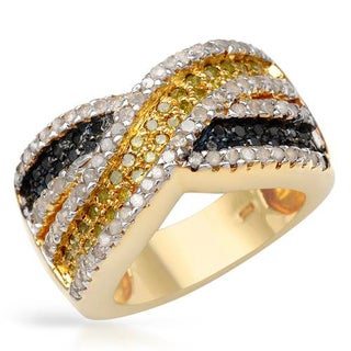 Ring with 1.36ct TW Diamonds of 14K/925 Gold-plated Silver