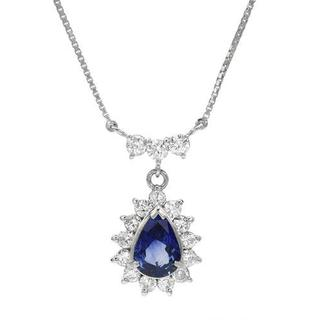 Necklace with 2.40ct TW Genuine Diamonds and Sapphire in 900 Platinum and 850 Platinum