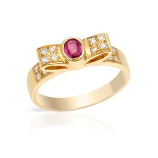 Ring with 0.41 ct TW Diamonds and Ruby 18K Yellow Gold