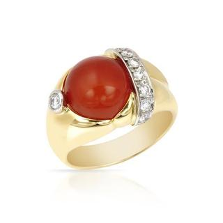 Ring with 7.3ct TW CARNELIAN and Diamonds 900/18K Platinum and gold