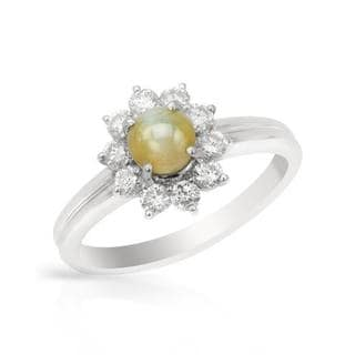 Ring with 1.52ct TW Cats eye and Diamonds in 900 Platinum
