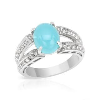 Ring with 2.98ct TW Chalcedony and Diamonds in 18K White Gold