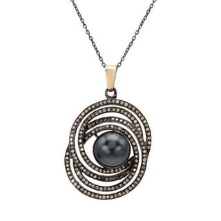 Necklace with 1.15ct TW Diamonds and Faux pearl of 14K/925 Gold and Sterling Silver.