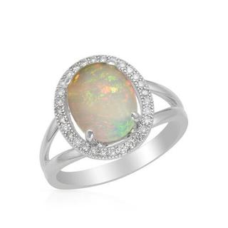 Celine F Ring with 2.12ct TW Diamonds and Opal Crafted in 14K White Gold