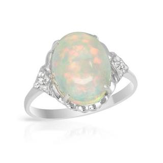 CELINE F Ring with 3.18ct TW Genuine Diamonds and Opal Crafted in 14K White Gold
