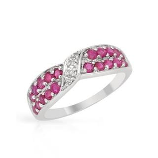 Ring with 1.13ct TW Diamonds and Rubies in White Gold