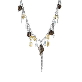 DV Italy Necklace with 29ct TW Citrines, Glass beads and Topazes in .925 Sterling Silver