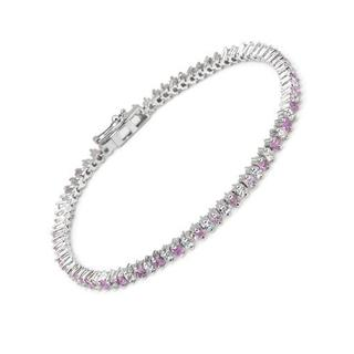Tennis Bracelet with 6.84ct TW Sapphires of .925 Sterling Silver