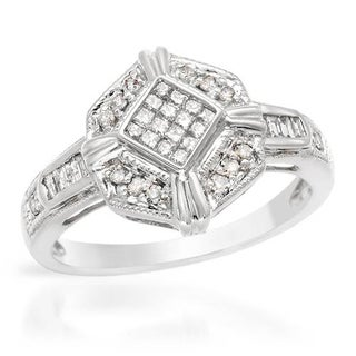 Ring with Genuine Princess Cut Diamonds 14K White Gold