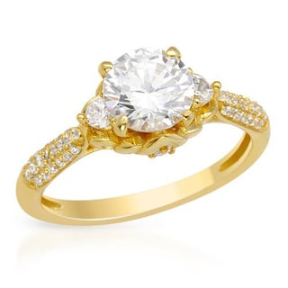 18k Yellow Gold over Silver Cubic Zirconia Raised Prong Ring