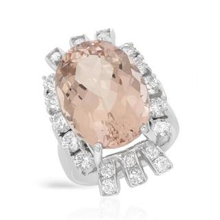 Cocktail Ring with 14.44ct TW Diamonds and Morganite in 14K White Gold