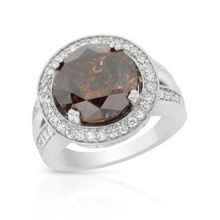 14k White Gold 9 1/4ct TDW Brown and White Diamond Engagement Ring