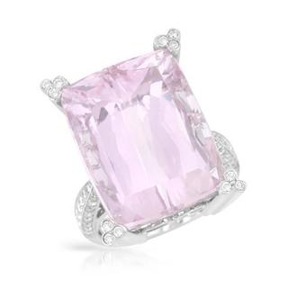 Cocktail Ring with 21.19ct TW Genuine Diamonds and Kunzite in 18K White Gold