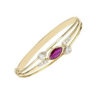 18k Yellow Gold Bracelet with 1.2ct TDW Diamonds and Ruby