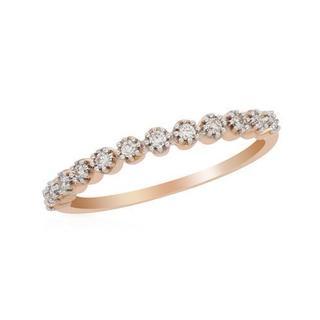 Ring with Genuine Diamonds in 14K Rose Gold