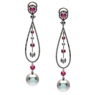 Autore! Earrigs 3.42ct TW GH Diamonds, Ruby and South Sea Pearl of 18K Gold