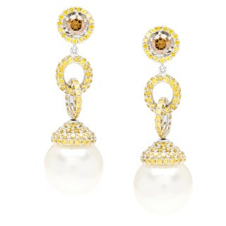 Autore 3.8ct TW Brown and Yellow Diamond and South Sea Pearl Earrings (13 mm)