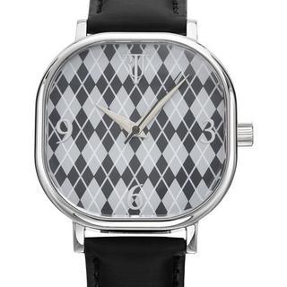 Randy Jackson Argyle Pattern Dial Black Leather Watch