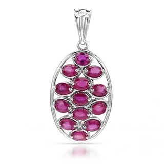 Sterling Silver 2 3/5ct TGW Ruby Pendant Necklace