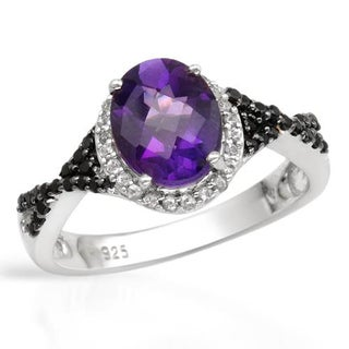 Ring with 2.07ct TW Amethyst, Spinels and Topazes of .925 Sterling Silver