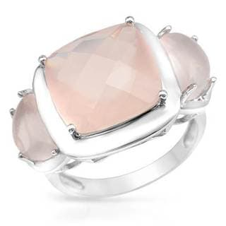 Sterling Silver 8.2ct TGW Quartz Three-stone Ring
