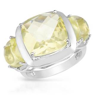 3-stone 8.2ct TW Quartz 0.925 Sterling Silver Ring