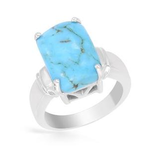 Ring with Simulated Turquoise in 925 Sterling Silver