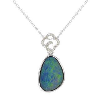 Celine F Necklace with 2.69ct TW Diamonds and Opal of 14K White Gold