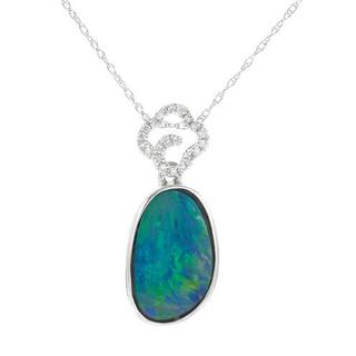 Celine F Necklace with 2.74ct TW Diamonds and Opal in 14K White Gold
