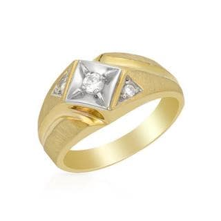 Usa Ring with Genuine Diamonds 14K Two-tone Gold