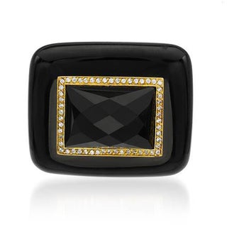 P&P Silver by Giuseppe Pisano Pendant with 0.54ct TW Cubic Zirconia, Onyxes in 14K/925 Gold-plated S