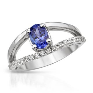 Ring with 1.4ct TW Diamonds and Tanzanite in 14K White Gold