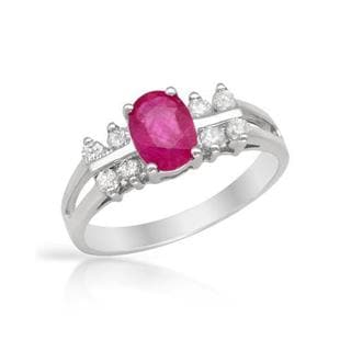 Celine F Ring with 1.1ct TW Diamonds and Ruby White Gold