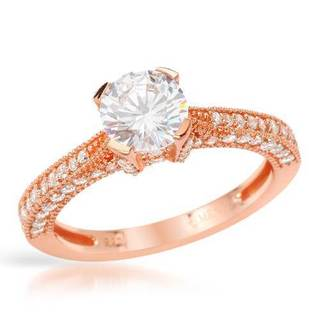 Cubic Zirconia 18K/925 Gold-plated Silver Ring