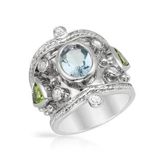 Ring with 4.11ct TW Aquamarine, Peridots and Sapphires of 925 Sterling Silver