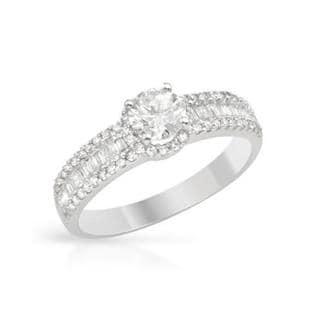 14k White Gold 1.01ct TDW Diamond Solitaire Plus Engagement Ring