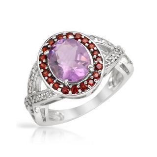 Ring with 3 1/4ct TW Amethyst, Garnets and Topazes Crafted in .925 Sterling Silver