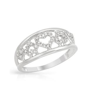 Heart Ring with Diamonds White Gold