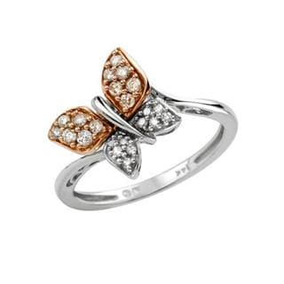 Ring with Diamonds 14K Two-tone Gold