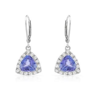 Celine F Earrings with 4.1ct TW Diamonds and Tanzanites 14K White Gold