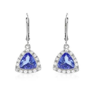 Celine F 14K White Gold Earrings with 1/2ct Diamonds and Tanzanites (G-I, SI-2 - I1)