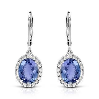 CELINE F Earrings with 5.10ct TW Diamonds and Tanzanites in 14K White Gold
