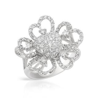 Heart Ring with 1ct TW Diamonds of 14K White Gold