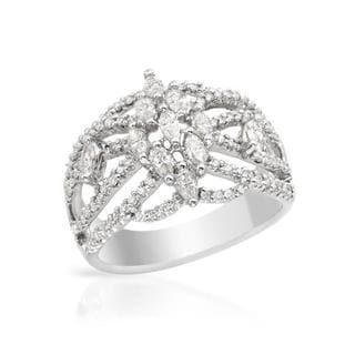 Ring with 1.09ct TW Marquise-cut Diamonds 18K White Gold
