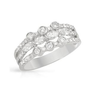 Fashion Band 3/4ct TDW Marquise and Round Diamonds 18K White Gold